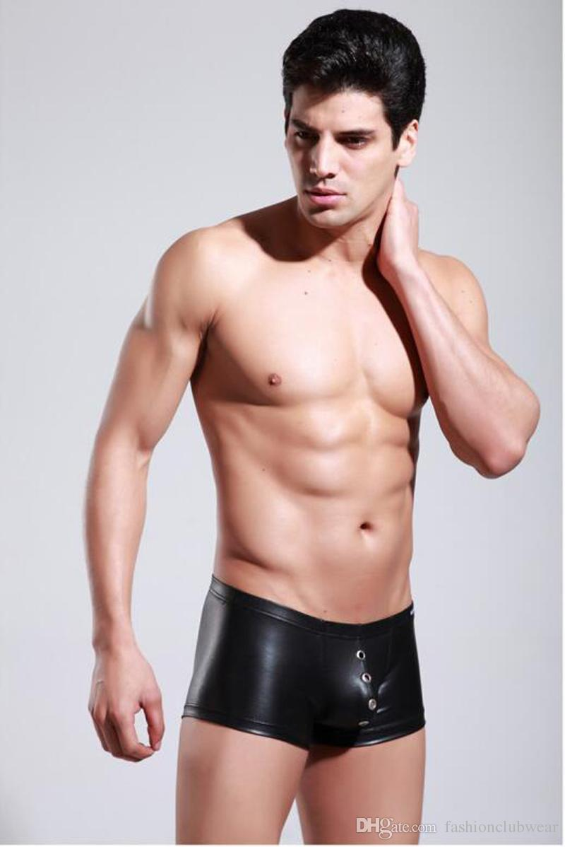 5 colores de moda de los hombres de cuero de imitación boxer shorts sexy vendaje bragas respirable agujero calzoncillos hombres frescos ropa interior ropa interior
