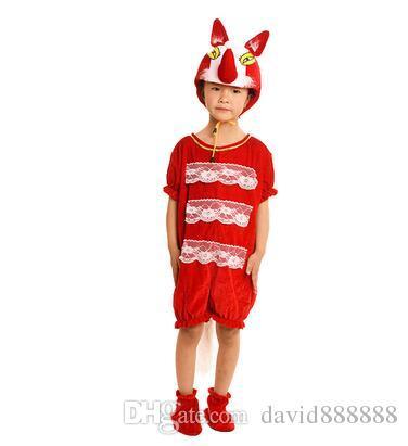 2018 Yeni stil çocuk Cosplay Kırmızı ve koyu kahverengi tilki Koyu gri kurt Hayvan gerçekleştirmek giyim Erkek ve kız Dans Yapışık giysiler ZX1-7