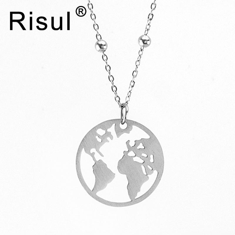 Toptan mat Paslanmaz Çelik dünya haritası kolye topu Ince Rolo üzerinde zincir kadın kolye Gerdanlık prenses zincir toptan 10 adet