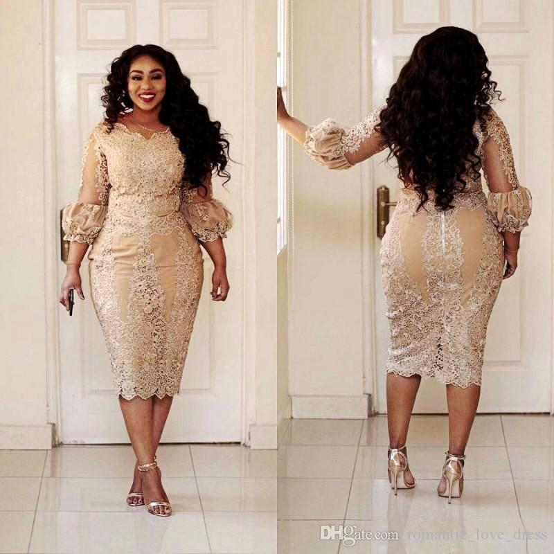 Champagne Lace Short Mother of the Bride Dresses Plus Size 2019 Tea Length 3/4 Long Sleeve Sheath Mother of Groom Gowns M02
