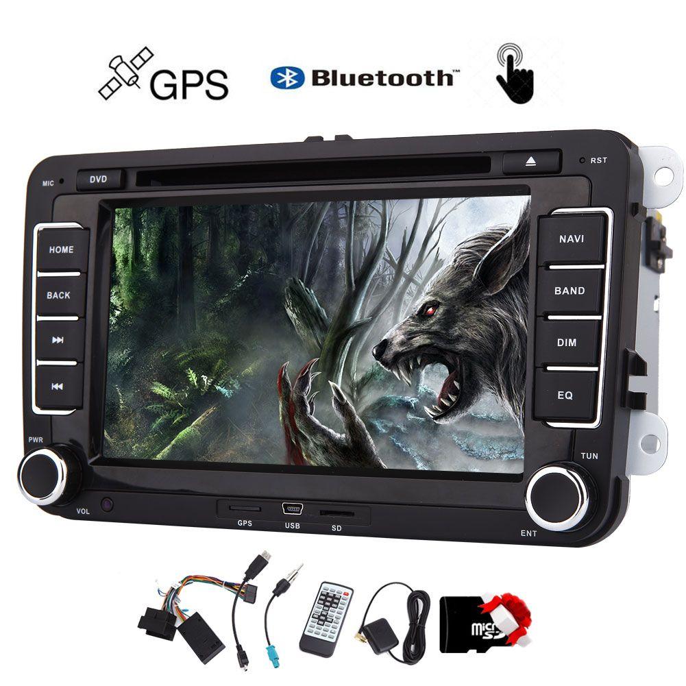 EinCar 7 '' Dupla 2 Unidade de Cabeça Din car DVD Player de CD para VW Car Audio Receptor GPS Estéreo 8 GB Mapa Bluetooth AM remoto