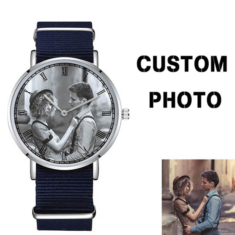 D-0000 Custom Your Design or Photo Watch Blank Watch Face Company Brand Name Engraved on Back Case and Buckle