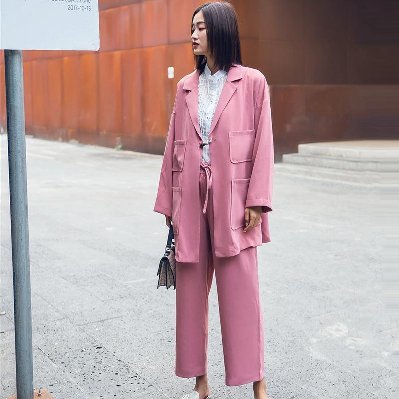 Frauen-Klage stellt Sommer 2018 ein Neue Art- und Weisebeiläufige zwei Stück-Sätze drehen unten Mantel-lange Hülsen-Mäntel und elastische Taillen-breite Bein-Hosen