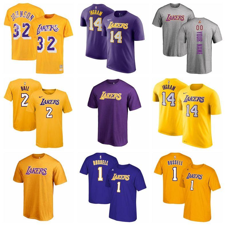 new style 6e08d f07e6 2018 New Los Angeles Lakers 32 Magic Johnson Basketball T Shirt Custom Name  Men Women Kid Shirt 2 Lonzo Ball Lakers T Shirt One Day T Shirt Best Site  ...