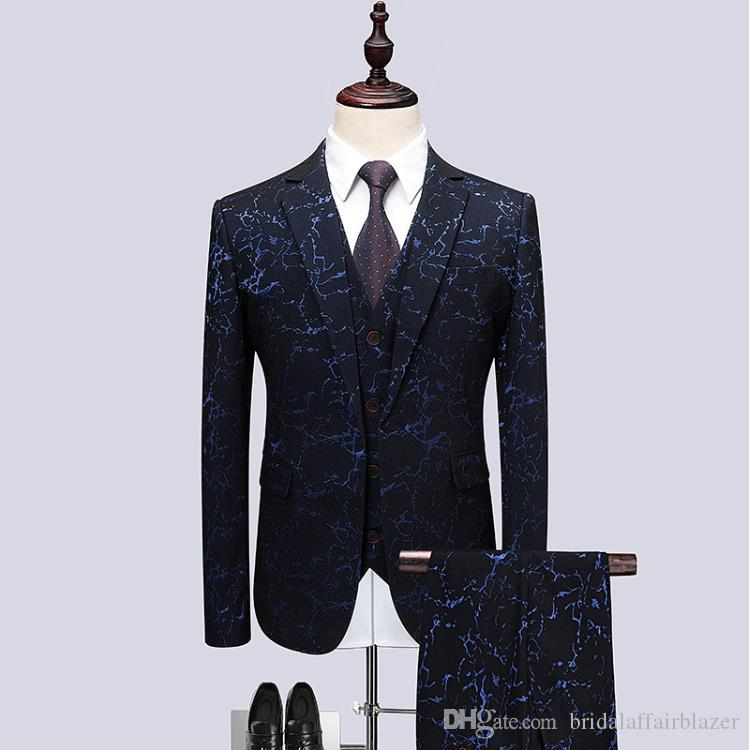 2018 Fleur couleur Host dress Hommes Costumes Fashion Party robes Hommes Slim Fit hommes d'affaires costume de mariage taille réelle M-6XL mens blazer