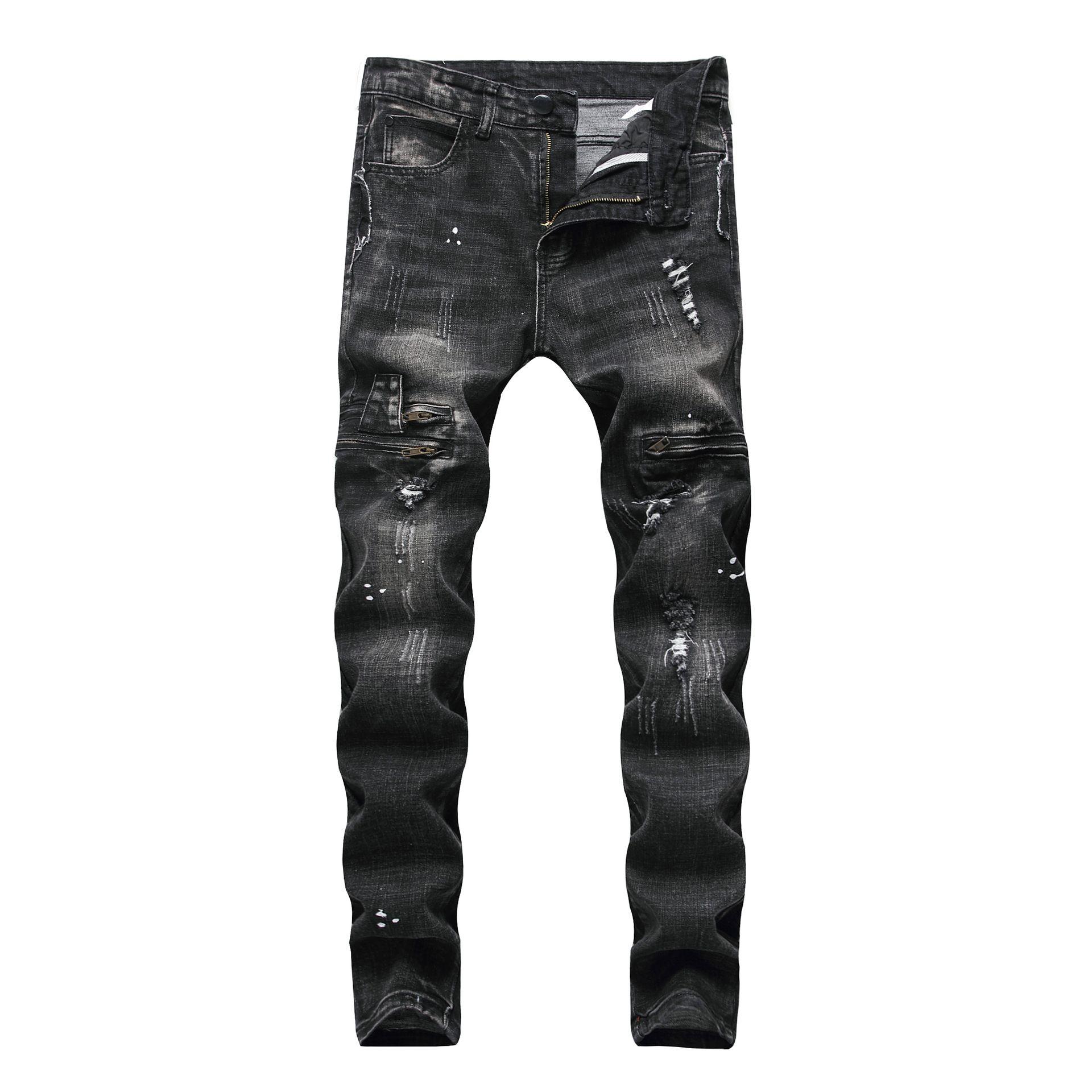 Ripped Men Jeans Size 28-42 Fashion Black Men Skinny Distressed Denim Jeans With Holes Destroyed Brand Designer Jean Pants J180708