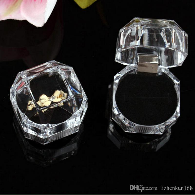قسم كريستال اﻷكريليك شفافة متعددة الأغراض 3-لون المجوهرات هدية مجوهرات الأزياء مربع التعبئة والتغليف الدائري