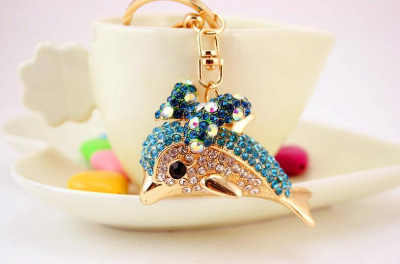 Bonito Golfinho Keychain-Blingbling Cristal Anel Chave Da Cadeia Presentes Para As Mulheres Llaveros Bolsa Encantos Chave Do Carro Acessórios Chaveiros