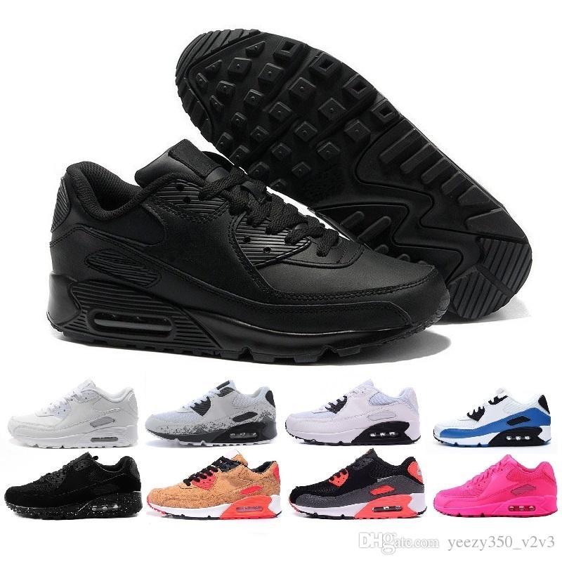 Мужская Женская Обувь Классический 90 Мужчины и Женщины Беговые Обувь Черный Rewhite Спортивный Тренер Подушка воздушной подушки Поверхность Дышащая спортивная обувь US 5.5-11