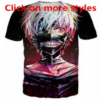 Tokyo Ghoul Funny T-Shirts New Fashion Men / Women 3D Print T-Shirts Camiseta 3D Imprimir Camiseta tee tops T19