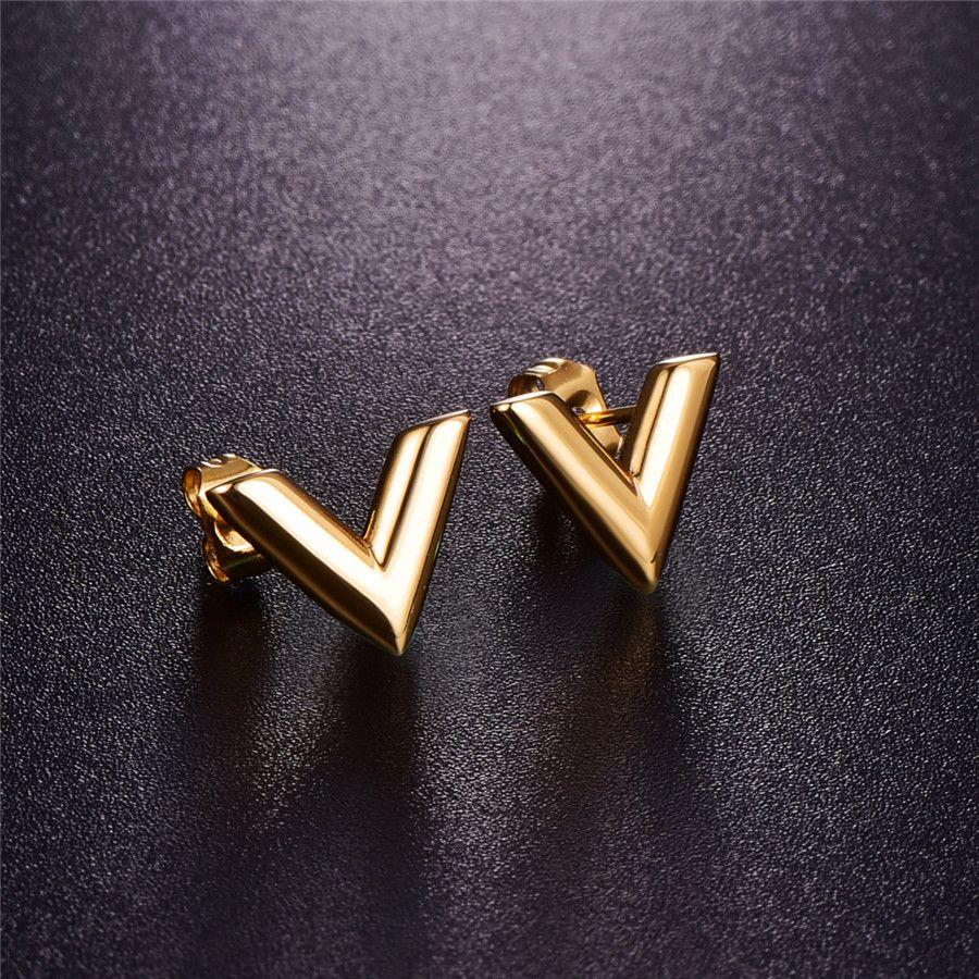 Orecchini in acciaio inox 316L per le donne Rosa oro-colore marca V lettera triangolo carino orecchini gioielli regalo