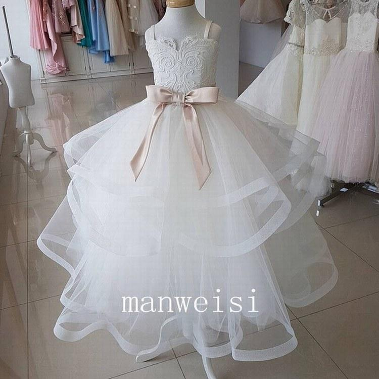White/ivory Lace Tulle Flower Girl Dresses with Pink Belt Kids Wedding Party Bridesmaid Children Dress Formal Dress GHYTZ336