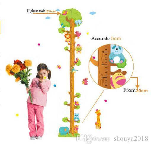 Free shipping Kids Child Height Chart Measure Tape Wall Stickers Natural Animal Tree Vinyl Wallpaper House Decorative Decals Removeable