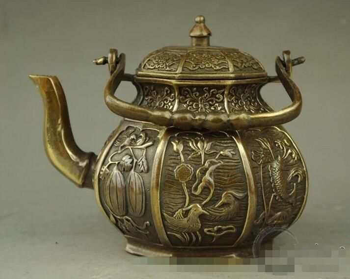 Antique copper pot ornaments eight treasures teapot decoration craft gift antique collection miscellaneous