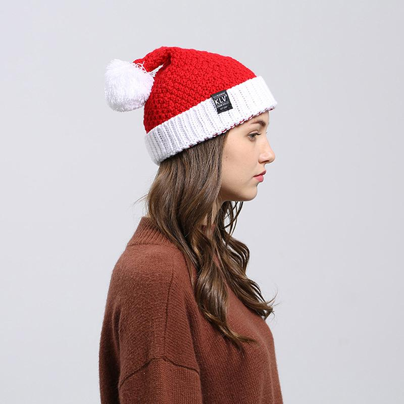 Unisex Knit Stretchy Beanies Christmas Santa Cap Winter Warm Hat Merry Christmas Hats Soft Knitted Hats