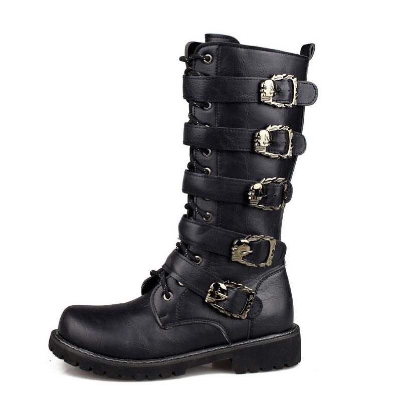 Army Boots Men High Military Combat Boots Metal Buckle Punk metà polpaccio maschile Stivali da moto Lace Up Scarpe da uomo Rock