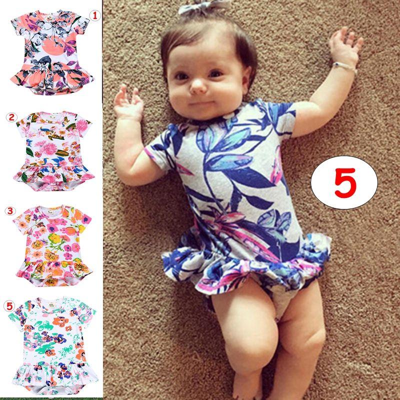 Neugeborenes Blumendruckspielanzug-Baby-Jungen-Mädchen-Sommer-Baumwolloverall Babyoveralls Sunsuits 5colors für 3M-3T