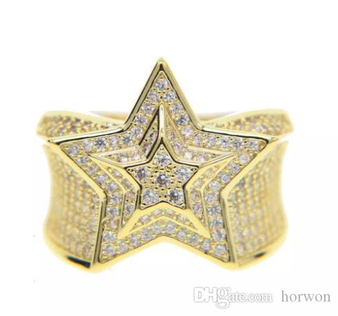 silver gold color mens jewelry wedding engagement hip hop bling size 9-11 micro pave cz star mens gold ring KKA1923