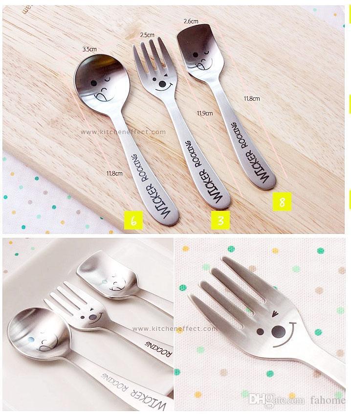 Cuchara de tenedor estilo Zakka creativo - Vajilla cara sonriente de acero inoxidable para niños Dibujos animados lindo - Accesorio de cocina