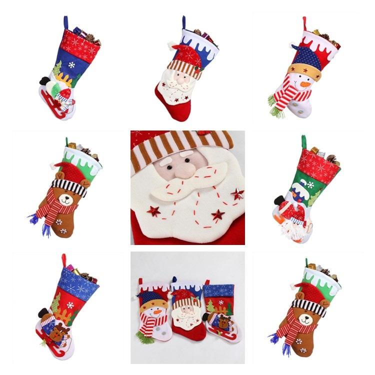 Christmas Decorations Santa Claus Socks Pendant Display Window Decoration  Christmas Stockings Gift Bag Large Size T7I302 Holiday Christmas Ornaments