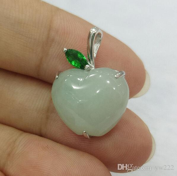fine jewelry natural 925 silver feicui jade carved apple shape trendy charm women pendant