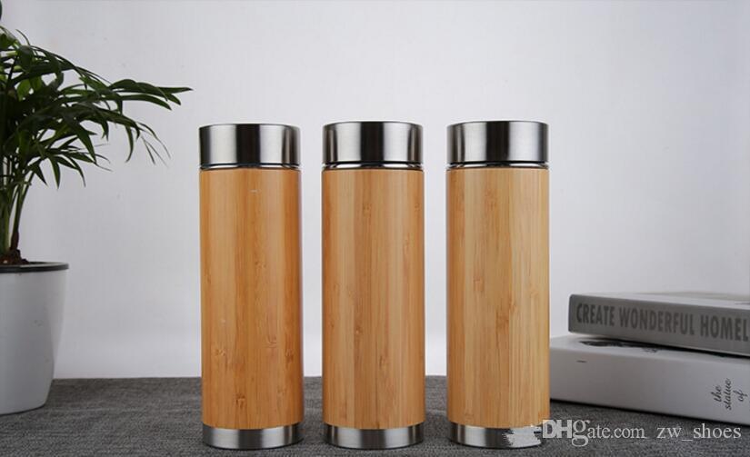 Bottiglia di acqua di bambù del bicchiere di bambù di bambù 17 once con filtro infusore in acciaio inox tazza da caffè tazza da caffè in acciaio inox doppio foglia sciolta foglia detox brew tazza