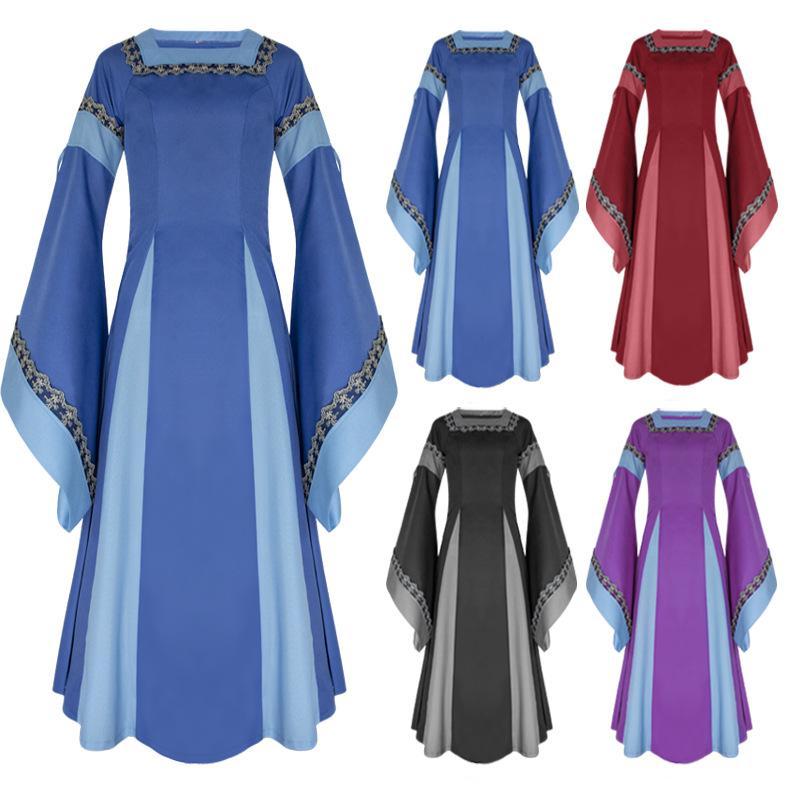 Sıcak Stil Kadınlar Kız Retro Rönesans Ortaçağ Trompet Kol Cadılar Bayramı Prenses Parti Cosplay Cloak Kostüm Giydirme