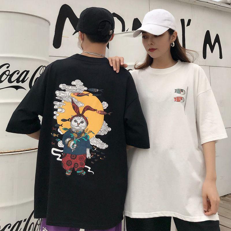 Korean Casual Graphic Female T Shirts Summer Harajuku Anime Print Couple T-shirt Japanese Style Street Fashion Tee Tops