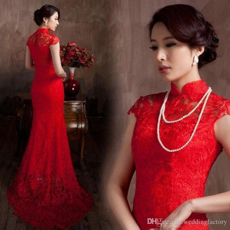 Cheap High Quality Red Lace Mermaid Wedding Dress from China Style High Neck Sheer Capped Sleeves Elegant Bridal Gowns Custom Made