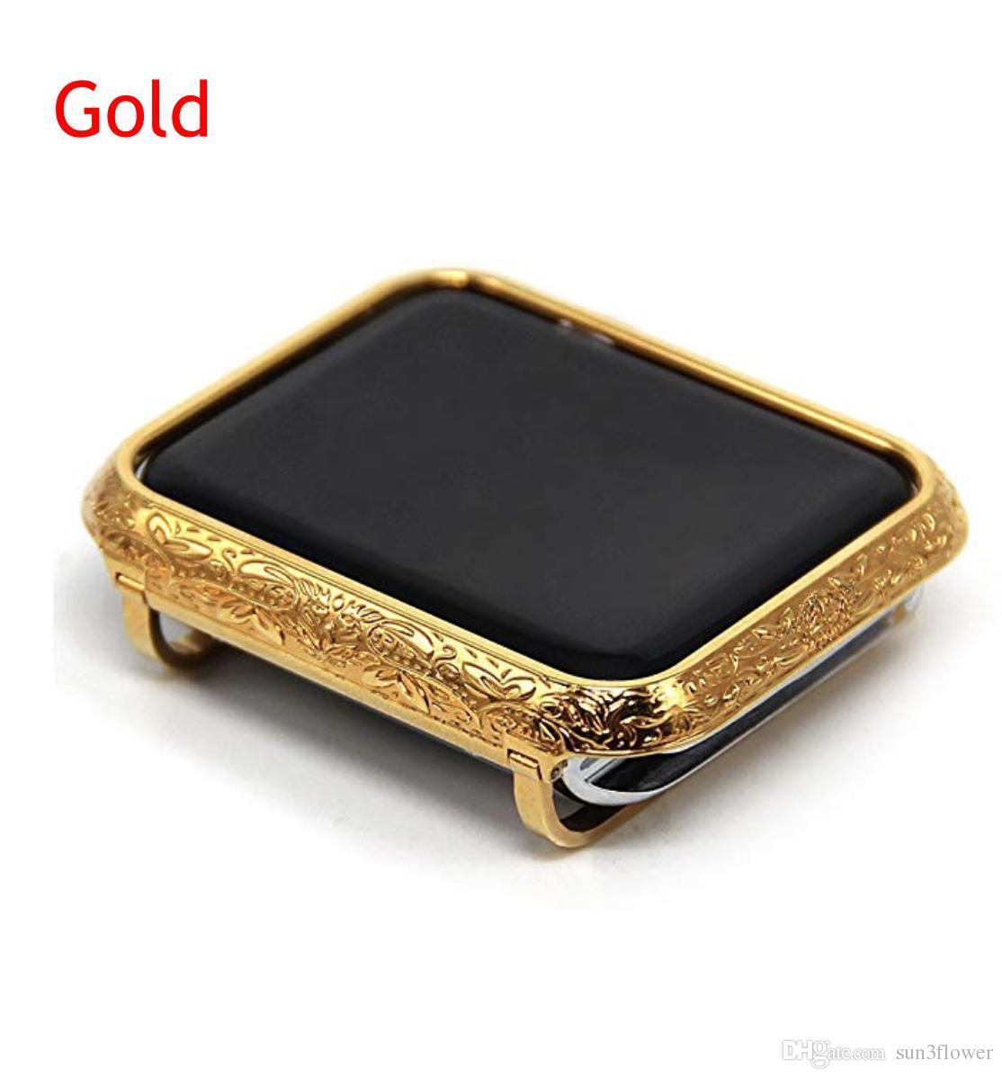 online store 3992f 6d525 CNC Engraved Ornate Gold Watch Case Embossment Flower Design Platinum Case  Bezel Cover For Apple Watch 38mm 42mm Series 1 2 3 Iwatch Cases Stainless  ...