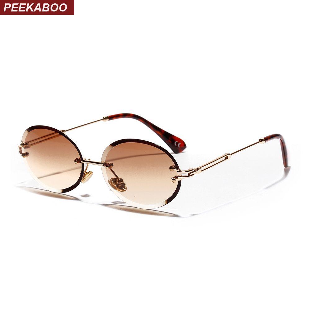 retro oval óculos de sol mulheres sem moldura 2019 cinza marrom claros óculos de sol de lentes sem aro para mulheres uv400