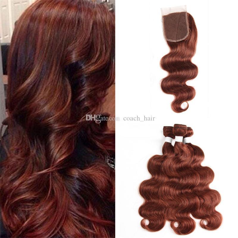 Virgem malaio castanho ruivo marrom tecer cabelo humano com lace closure cor 33 onda do corpo castanho escuro virgem feixes de cabelo virgem e fecho 4x4