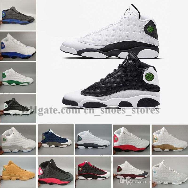 802b65bc7c2 With Box]New Wholesale Famous Trainers 13 XIII 13s Hologram Men's Sports  Basketball Shoes Barons (white black grey tea