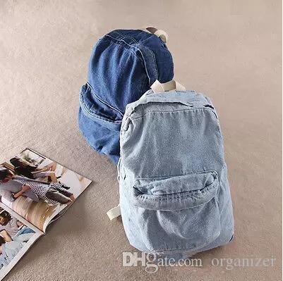 Fashion Unisex Vintage Washed Denim Jean Rucksack Shoulder School Bag Boys Girl Travel Matching Backpack 2 Colors