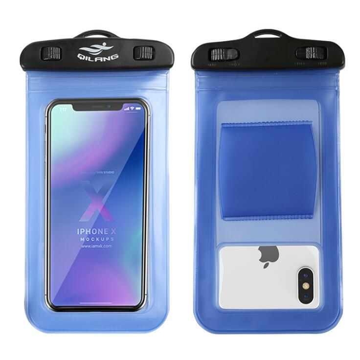 Universal Waterproof Phone Case Cellphone Dry Bag Pouch with Armband Touch Screen Diving Bags Free Shipping