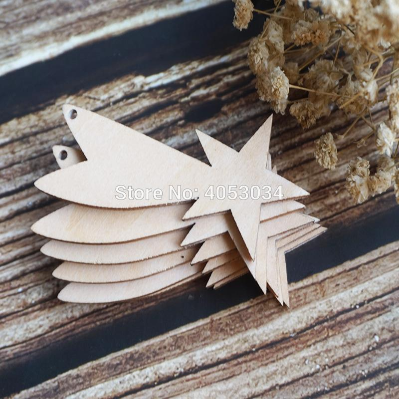 Wooden falling Star Shape Craft Hanging Tag Decoration Gift