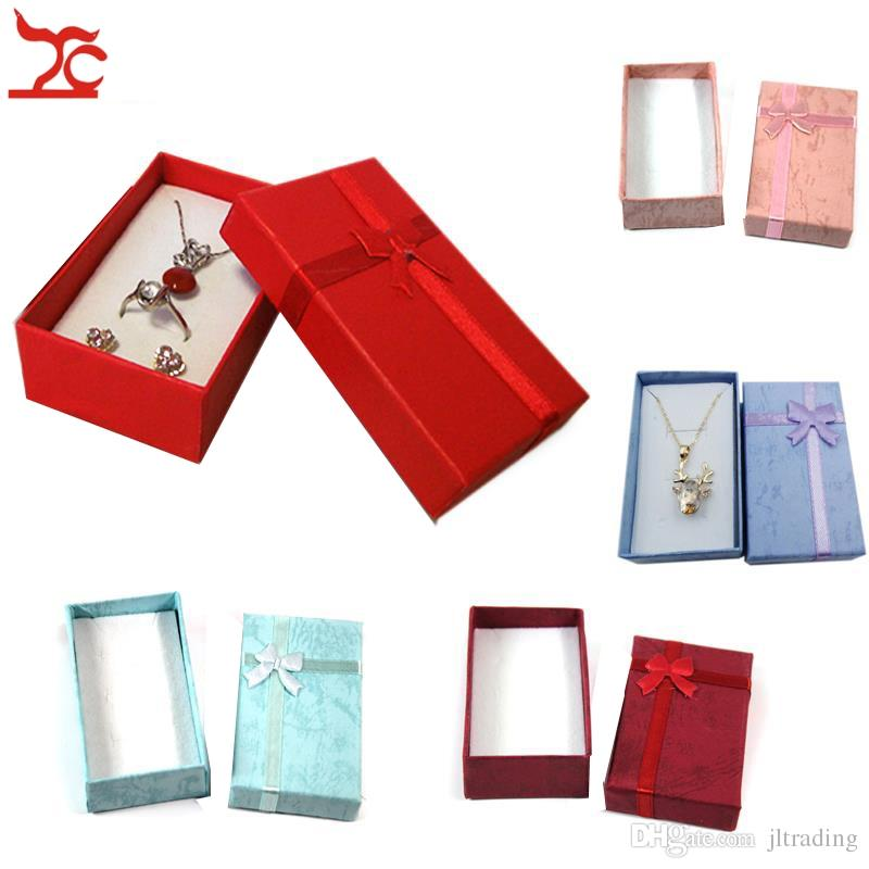 Promotion Quality Paper Boxes For Jewelry Packaging Ring Earrings Necklace Holder Box Wholesale with Silk Bow 5*8*2.5cm Free Shipping