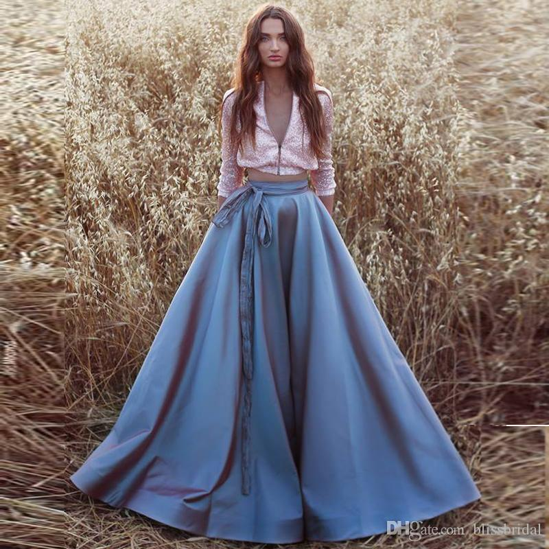 A-Line Blue Satin Skirt with Sash Formal Prom Party New Fashion Floor Length Women's Skirts Zipper Back