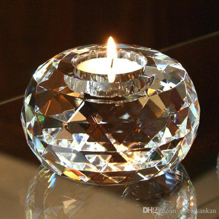 Top grade K9 crystal 80mm 3.15in glass tealight candle stand holder clear rare crystals sphere holders for wedding centerpieces