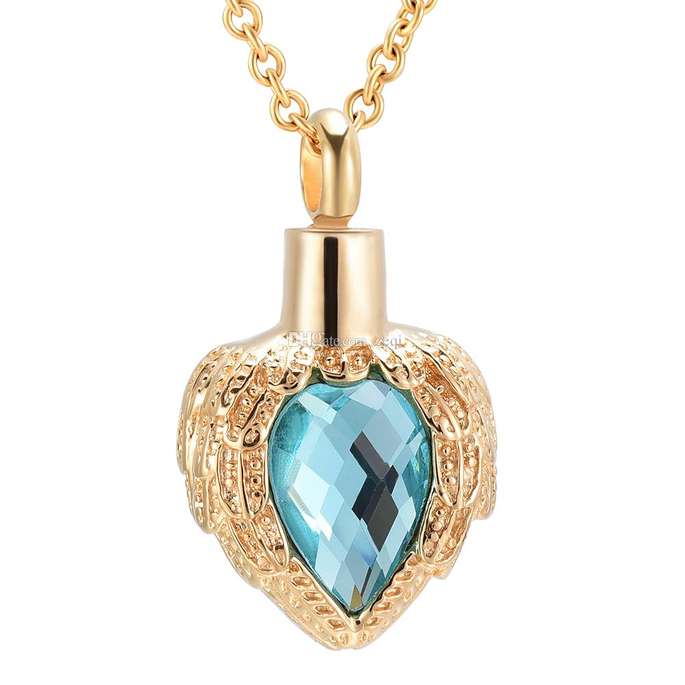 Crystal heart Urn Memorial Keepsake Pendant stainless steel Cremation Jewelry for women pendant necklace