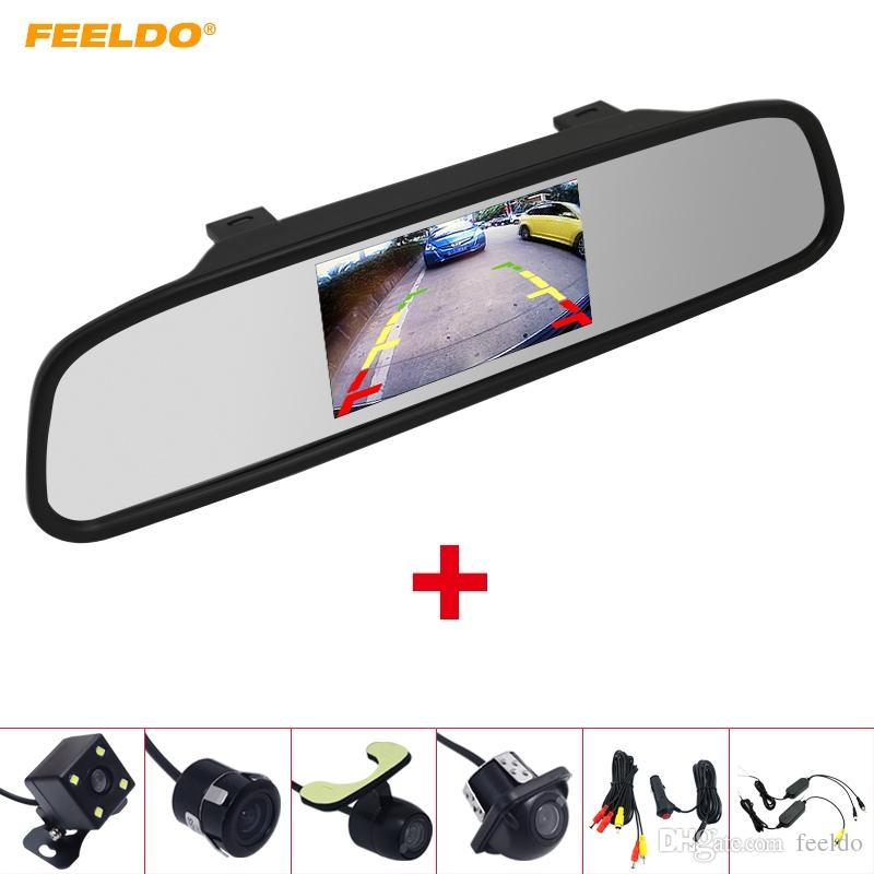 FELDO سيارة 4.3 LCD TFT مرآة الرؤية الخلفية مراقب مع كاميرا الرؤية الخلفية وقوف السيارات نظام 2.4G ولاعة السجائر اللاسلكية اختياري # 3888