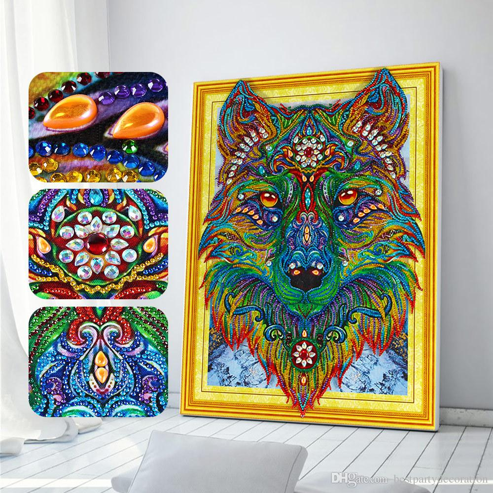 Wolf head 5D DIY Special Shaped Diamond Painting Cross Stitch Embroidery decor