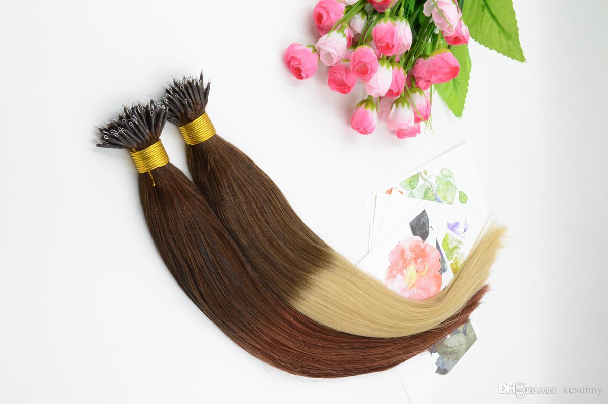 """XCSUNNY на складе дешевые нано петли наращивание волос кожи утка волос 18 """"20"""" 1 г / с 100 г малазийские человеческие волосы нано кольца расширение 100bead"""