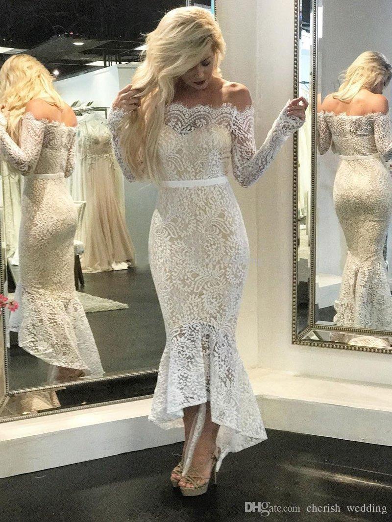 White Nude Lace Mermaid Evening Dresses Bateau Neck Off Shoulder Long Sleeves Tea Length High Low Black Prom Dresses 2017 Short Party Dress