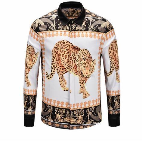 Leopardo Flor dorada Tallado Diseño de impresión Camisas para hombre Moda de manga larga Camisas ajustadas Hommes Ropa de invierno otoño Ropa para hombre Tops