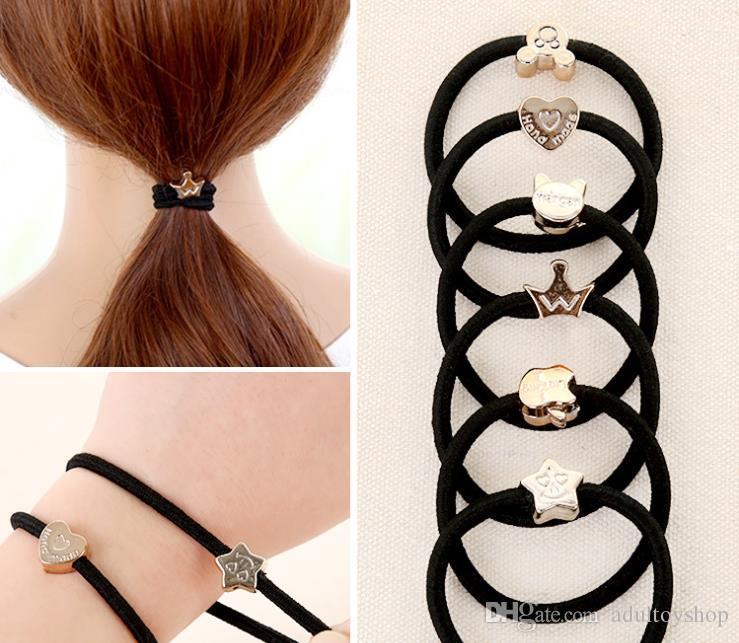 Accessoires, Haarringe, Haarbänder, Lederbezüge, hoch elastisches schwarze Krawatte Haar, Gummiband Gummi, Haarschmuck