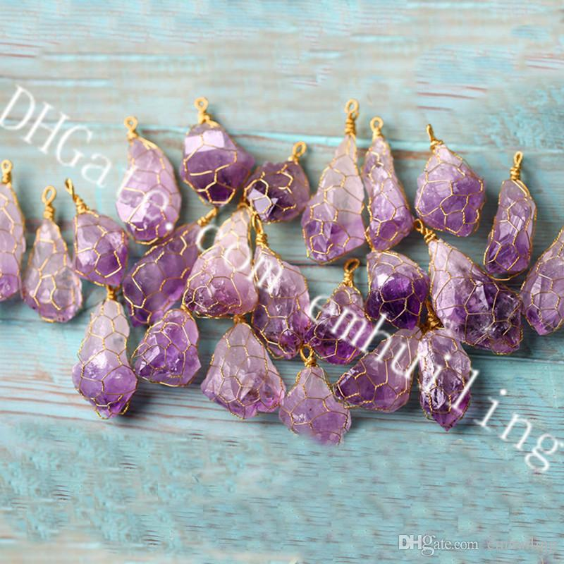 10Pcs Irregular Rough Amethyst Chakra Crystal Point Gold Color Wire Wrapped Pendant New Natural Raw Purple Amethyst Gemstone Pendant Jewelry