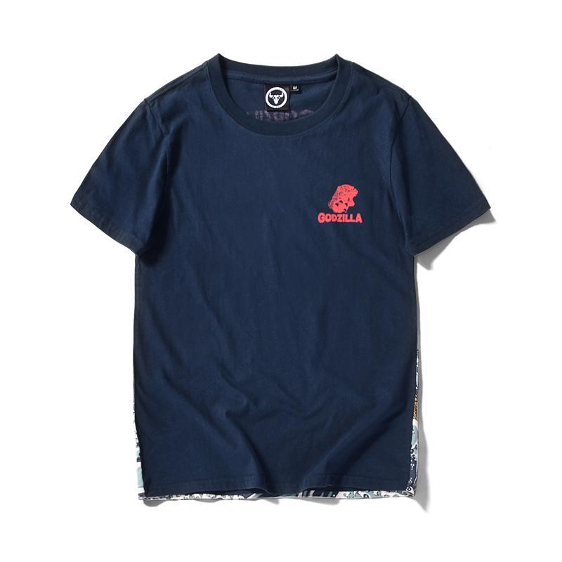 fresco de la camiseta de algodón animado camiseta del verano blanco fitness fitness divertido de dibujos animados de monstruo Godzilla homme hombres nuevos