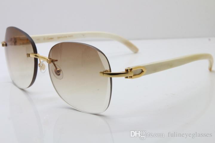 Çerçevesiz 3524012 Kadınlar İyi Edition Beyaz Unisex Gözlük Güneş Gözlüğü Sürüş Sınırlı Gözlük Açık Havada Boynuz Kalite Buffalo Erkekler Güneş Glasse PMKA