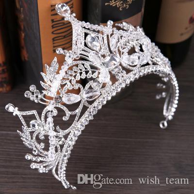 Vintage barroco Reina Rey novia Tiara Corona para las mujeres del tocado de baile novia de la boda tiaras y coronas joyería y accesorios de cabello